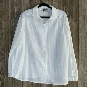 VTG Blvd East Ivory Gold Silver Metallic Blouse
